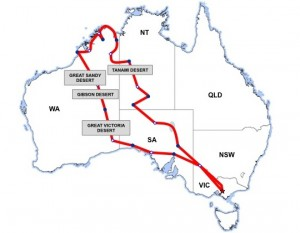 4 Desert Run route map. Starting and ending in Tooradin, near Melbourne (VIC).