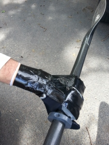 Hands taped to my paddle with a block to stop my hand slipping